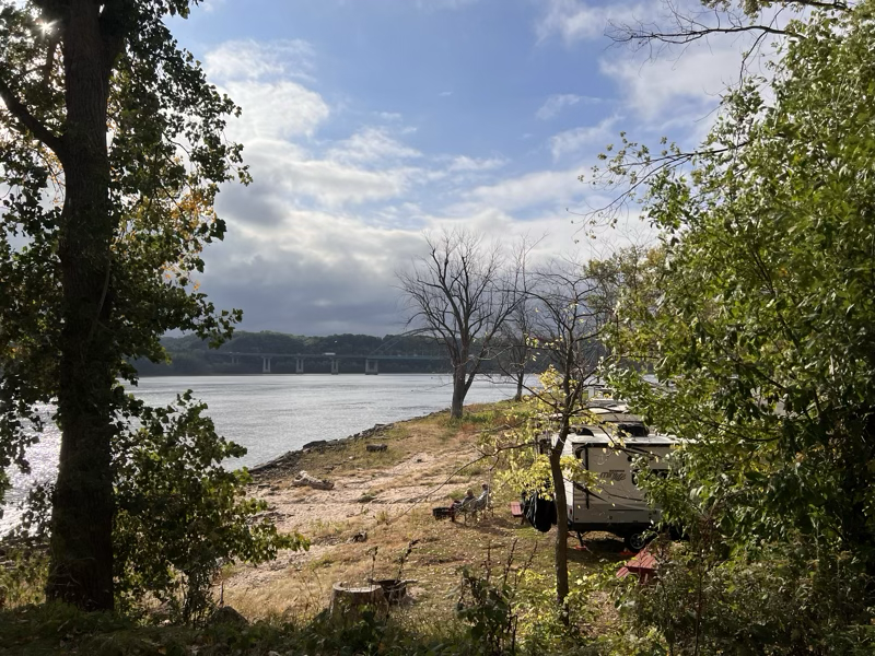 View of our campsite right along the Mississippi