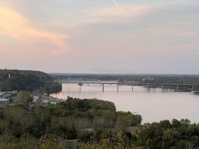 The Mississippi and Hannibal MO near sunset